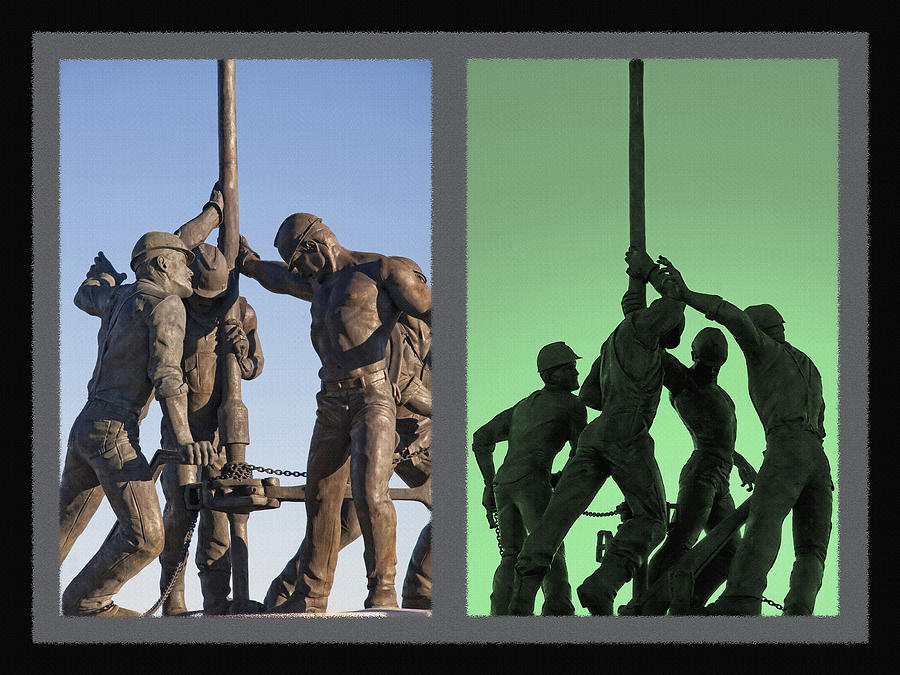 Oil Riggers Photograph - Oil Rig Workers Diptych by Steve Ohlsen