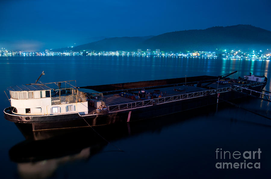 Oil Tanker At Night Photograph by Ciprian Kis