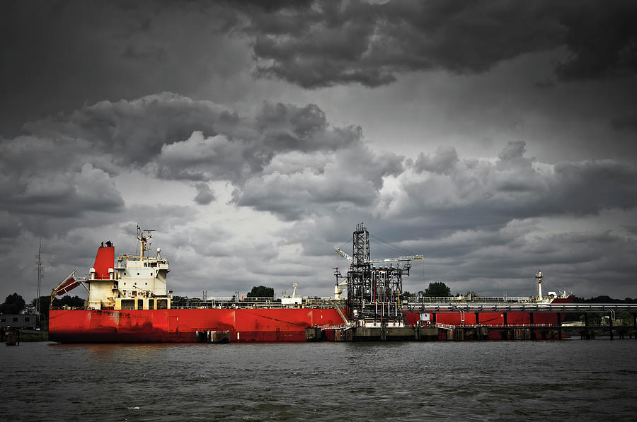 Oil Tanker In A Port Photograph by Delectus