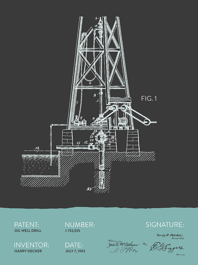 Oil Well Drill Patent From 1903 - Gray Blue Digital Art