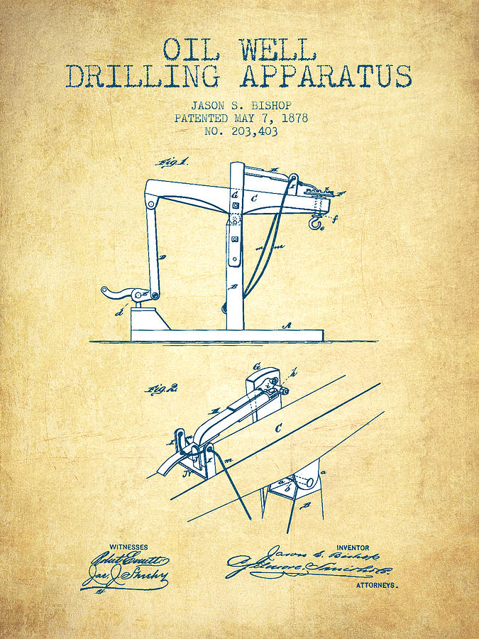 Well Drilling Drawing - Oil Well Drilling Apparatus Patent From 1878 - Vintage Paper by Aged Pixel