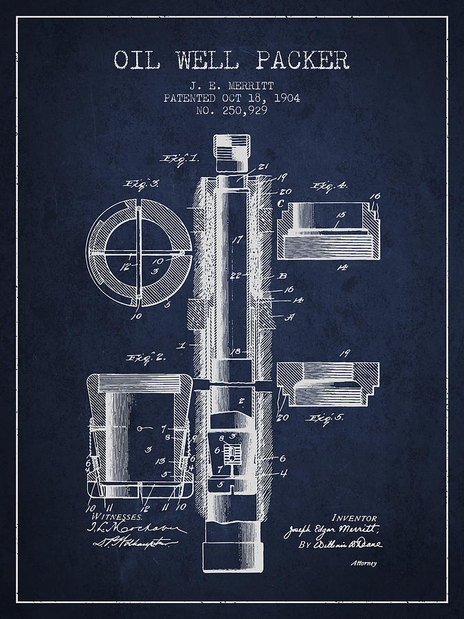Oil Well Packer Drawing - Oil Well Packer Patent From 1904 - Navy Blue by Aged Pixel