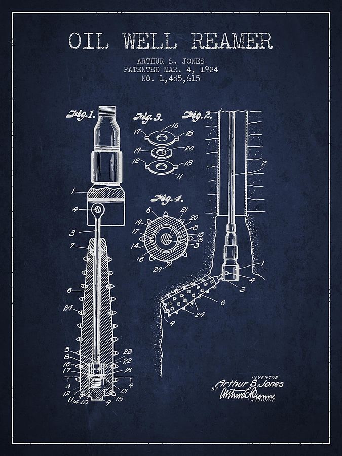 Oil Digital Art - Oil Well Reamer Patent From 1924 - Navy Blue by Aged Pixel