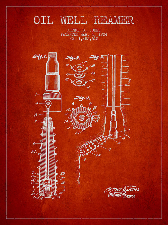 Oil Digital Art - Oil Well Reamer Patent From 1924 - Red by Aged Pixel