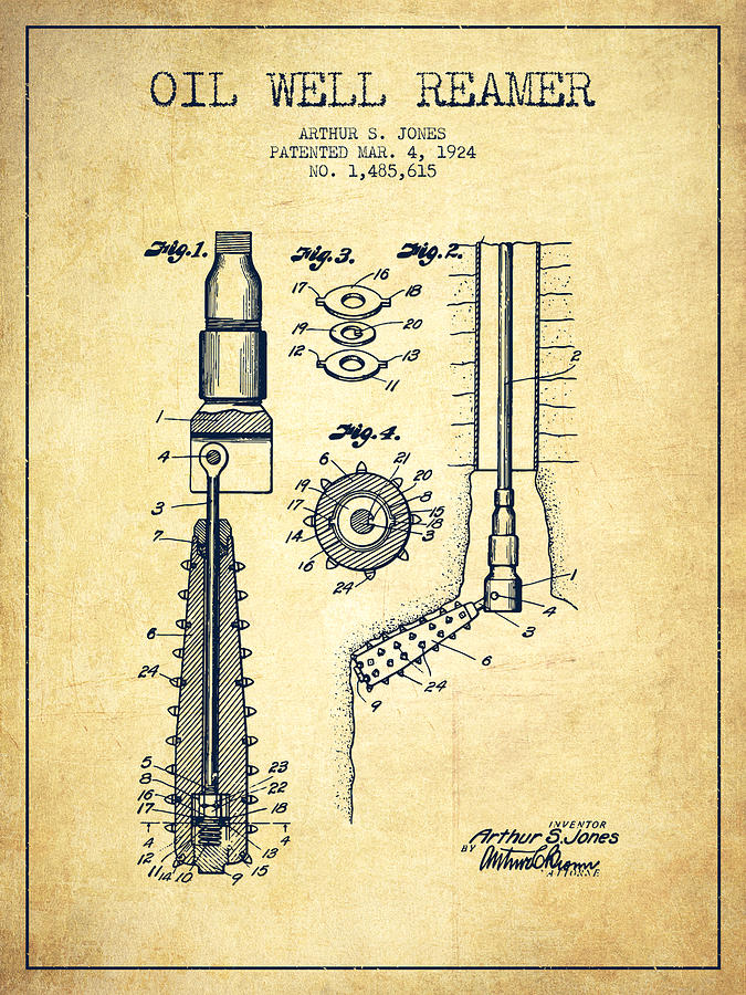 Oil Digital Art - Oil Well Reamer Patent From 1924 - Vintage by Aged Pixel