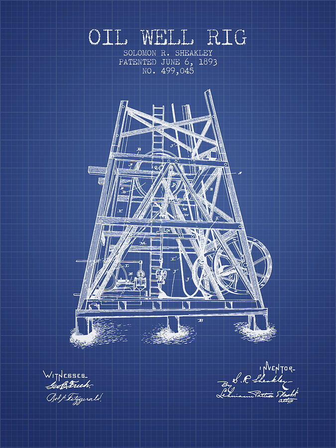 Oil Digital Art - Oil Well Rig Patent From 1893 - Blueprint by Aged Pixel