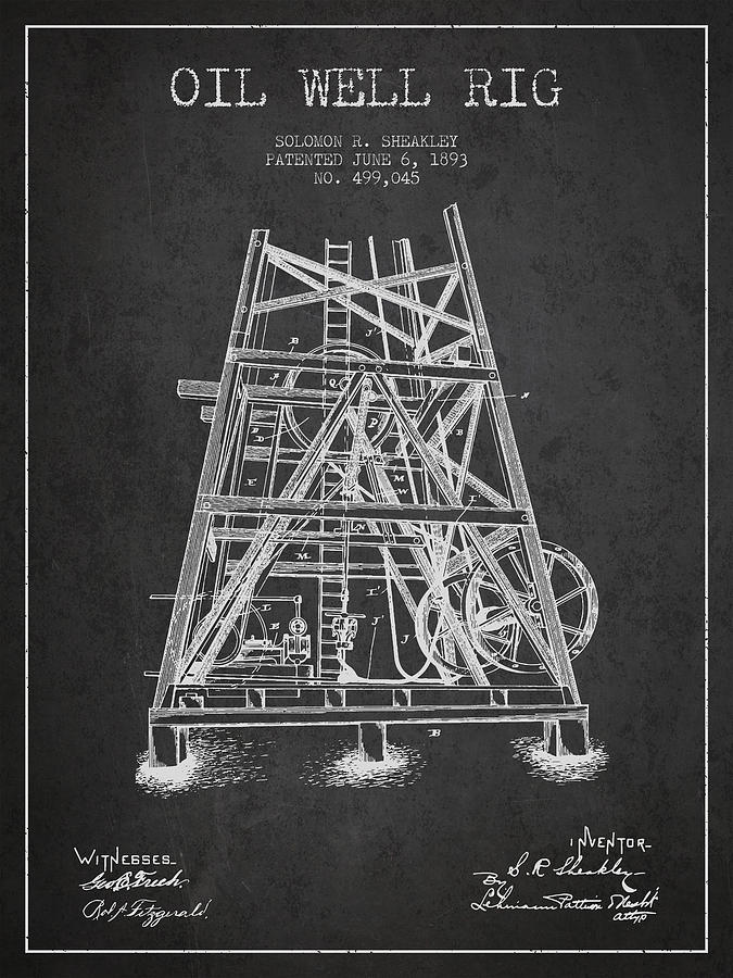 Oil Digital Art - Oil Well Rig Patent From 1893 - Dark by Aged Pixel