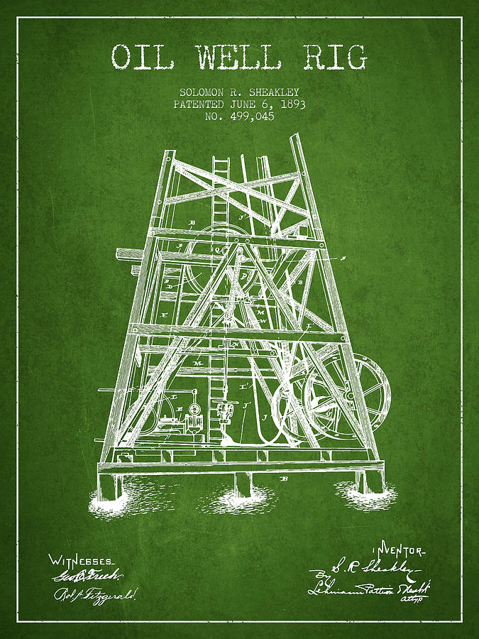 Oil Digital Art - Oil Well Rig Patent From 1893 - Green by Aged Pixel