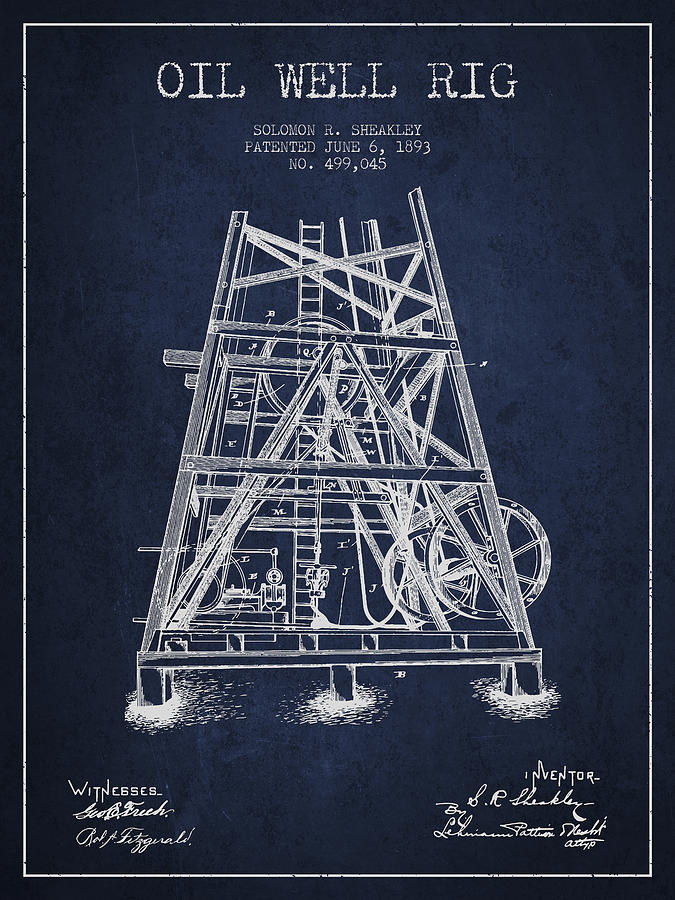 Oil Digital Art - Oil Well Rig Patent From 1893 - Navy Blue by Aged Pixel
