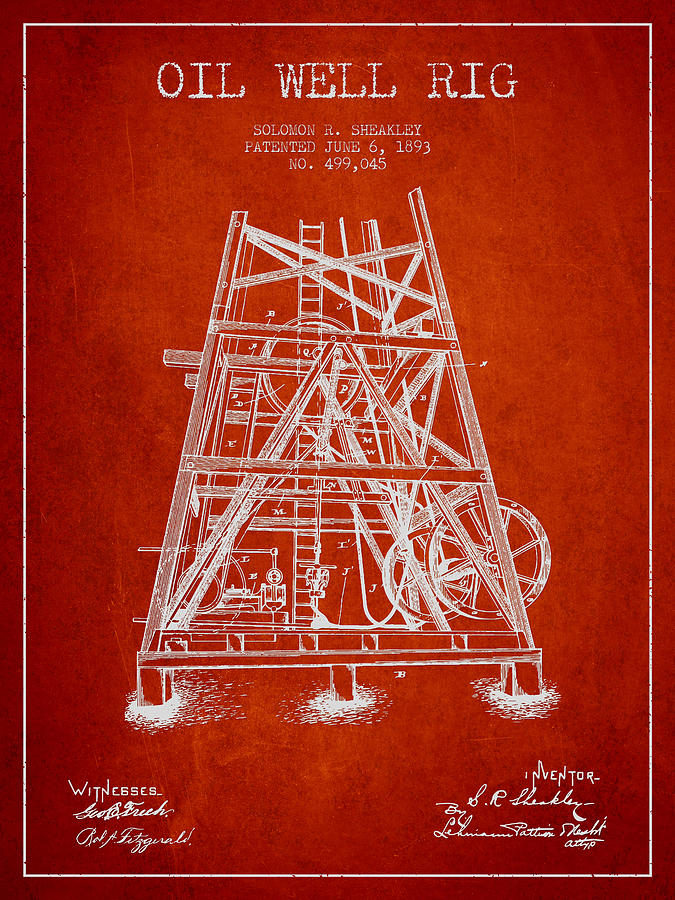 Oil Digital Art - Oil Well Rig Patent From 1893 - Red by Aged Pixel