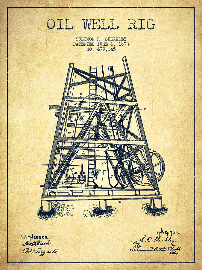 Oil Digital Art - Oil Well Rig Patent From 1893 - Vintage by Aged Pixel