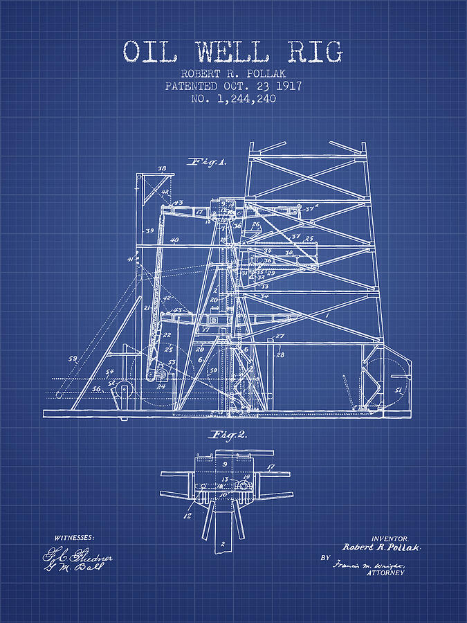Oil Digital Art - Oil Well Rig Patent From 1917 - Blueprint by Aged Pixel