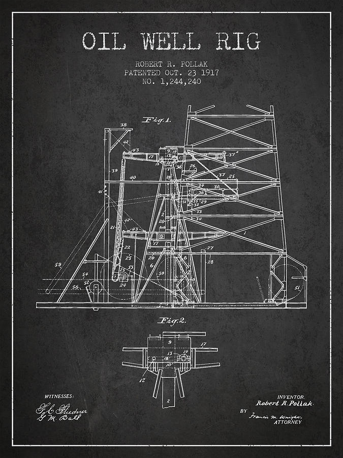 Oil Digital Art - Oil Well Rig Patent From 1917- Dark by Aged Pixel