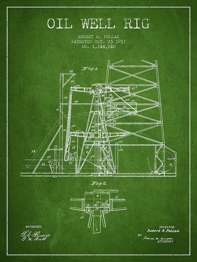 Oil Digital Art - Oil Well Rig Patent From 1917- Green by Aged Pixel