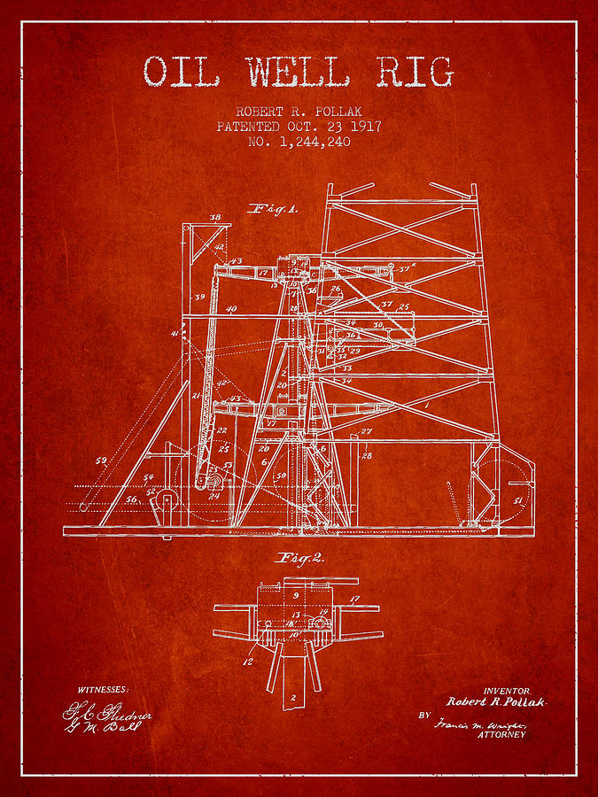 Oil Digital Art - Oil Well Rig Patent From 1917- Red by Aged Pixel