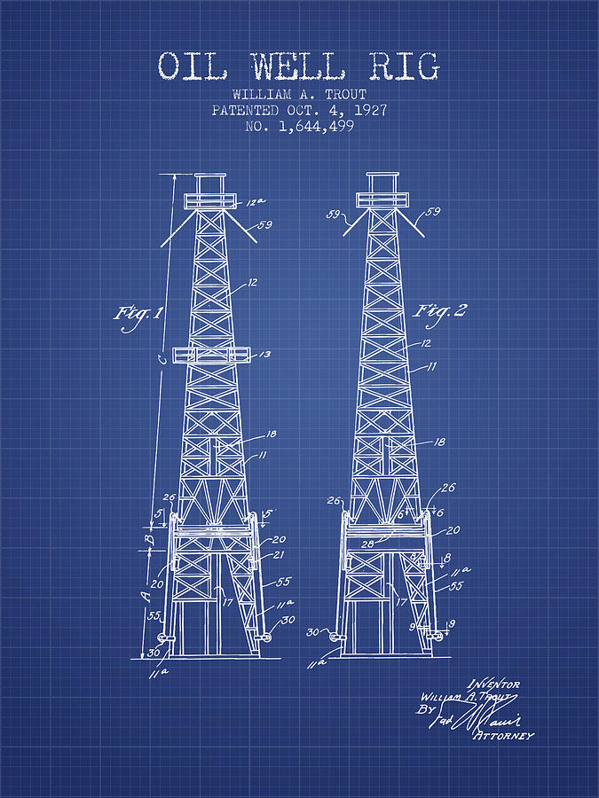 Oil Digital Art - Oil Well Rig Patent From 1927 - Blueprint by Aged Pixel