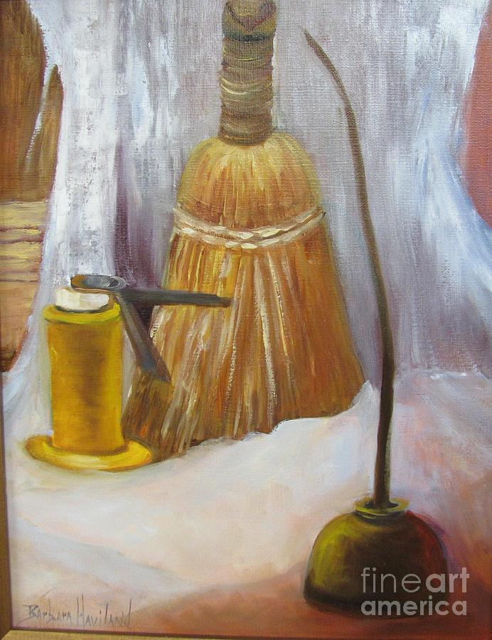Whisk Broom Painting - OIls Cans and Whisk Broom by Barbara Haviland by Barbara Haviland