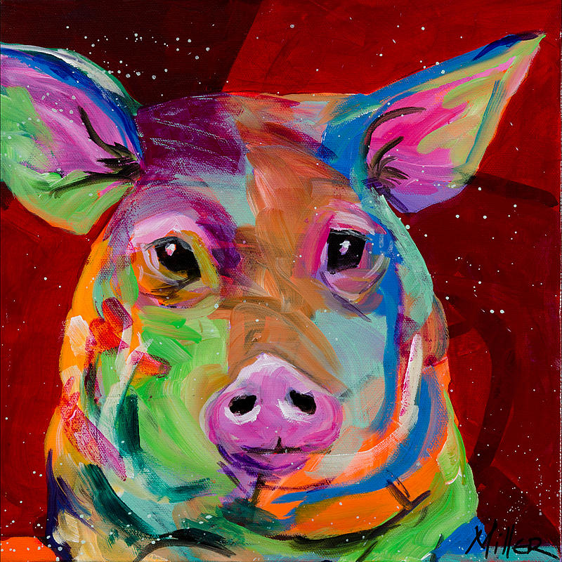 Tracy Miller Painting - Oink by Tracy Miller