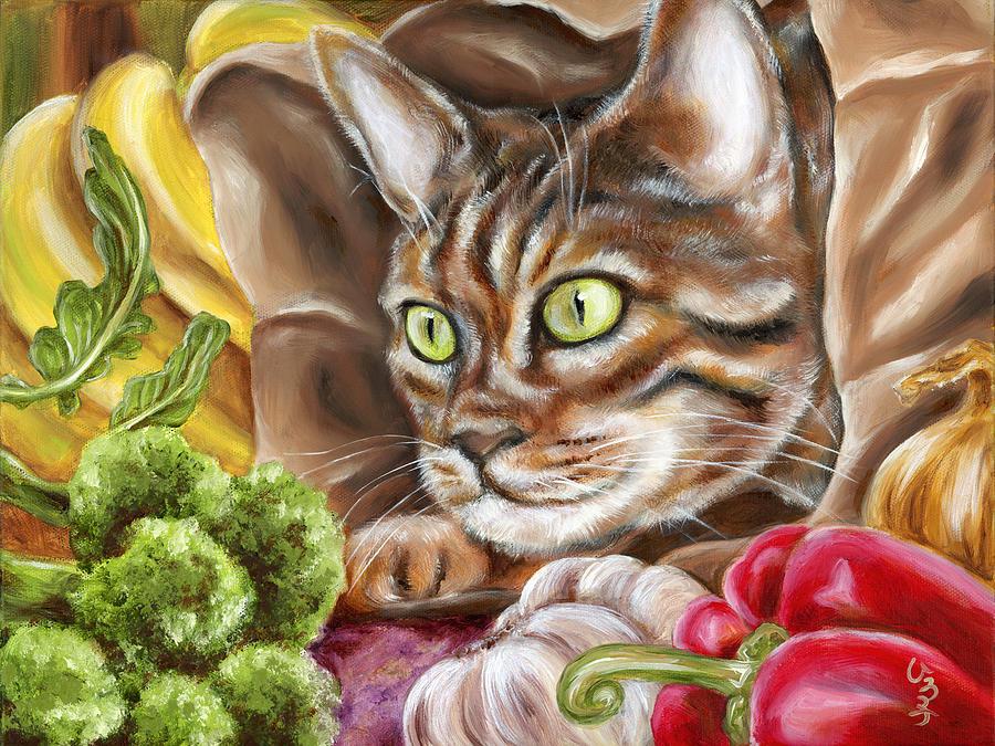 Cat Painting - Ok Now What by Hiroko Sakai