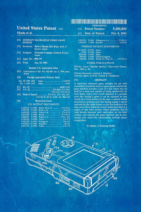 Famous Photograph - Okada Nintendo Gameboy Patent Art 1993 Blueprint by Ian Monk
