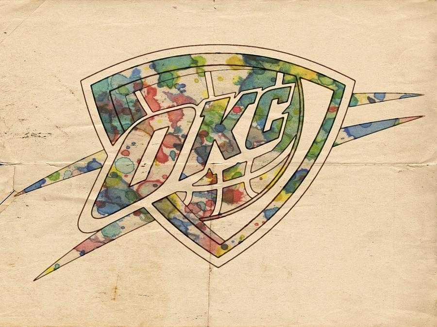 Oklahoma City Thunder Painting - Okc Thunder Logo Art by Florian Rodarte