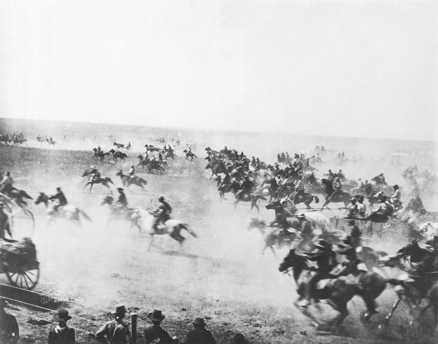 1889 Photograph - Oklahoma Land Rush by Barney Hillerman