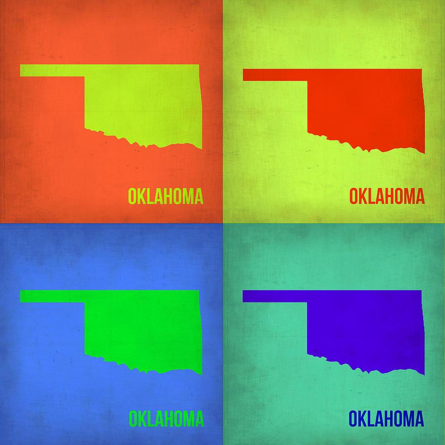 Oklahoma Map Painting - Oklahoma Pop Art Map 1 by Naxart Studio