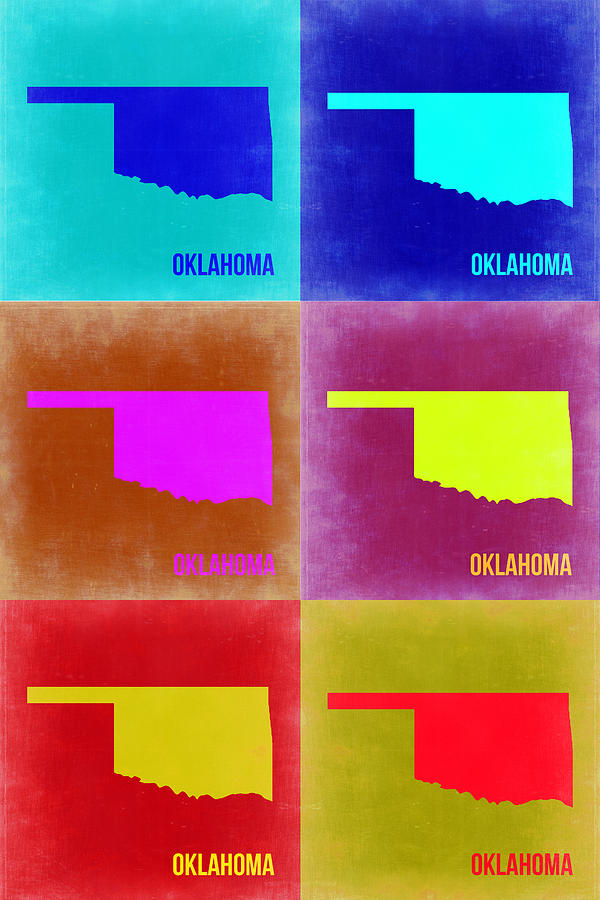 Painting - Oklahoma Pop Art Map 2 by Naxart Studio