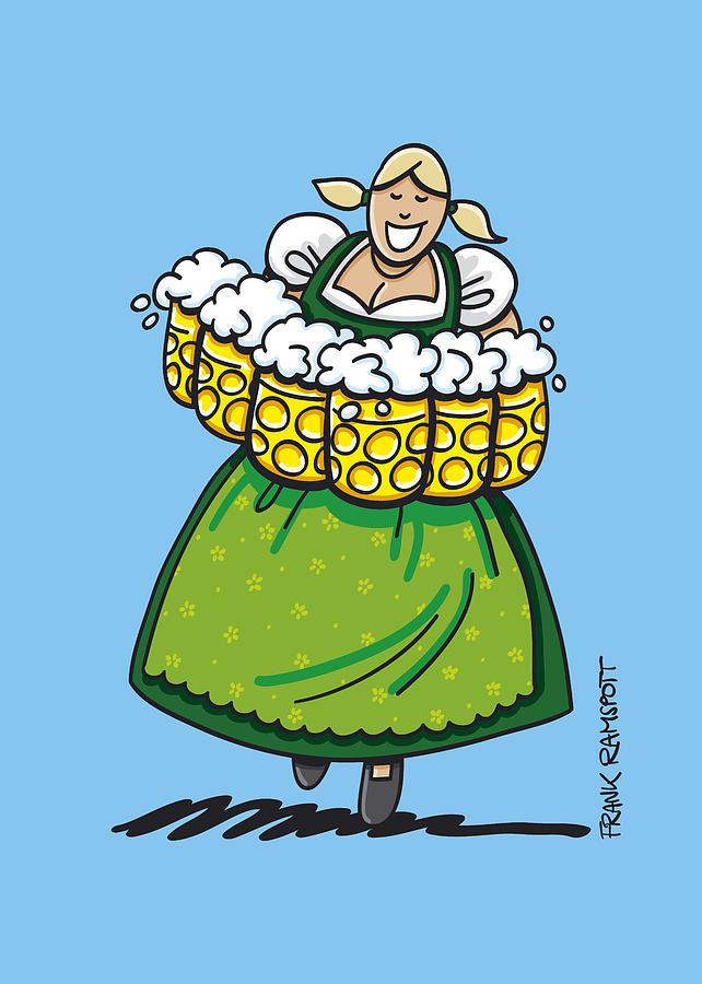 Blond Hair Drawing - Oktoberfest Beer Waitress Dirndl by Frank Ramspott