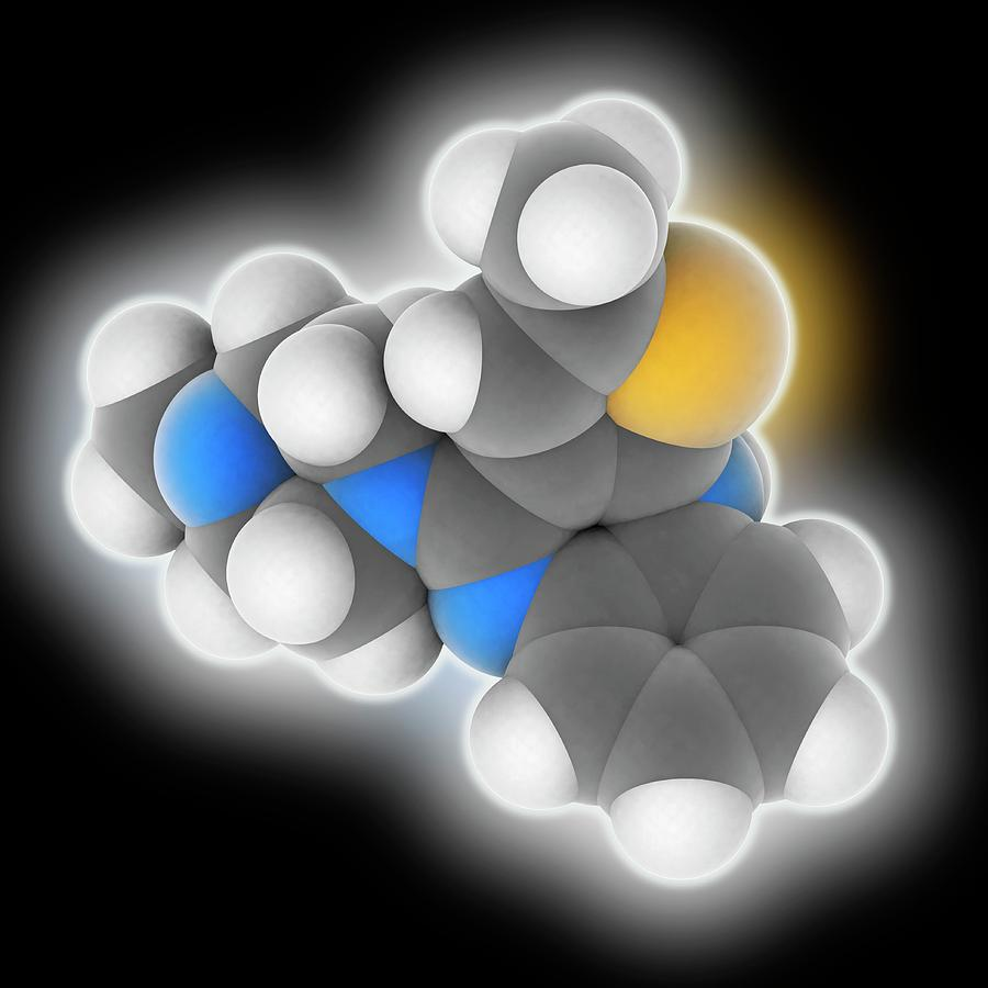 Antipsychotic Photograph - Olanzapine Drug Molecule by Laguna Design