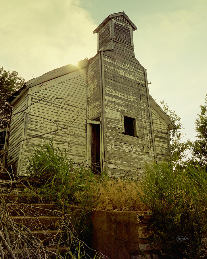 Weathered Photograph - Old Abandoned Country  School by Ann Powell