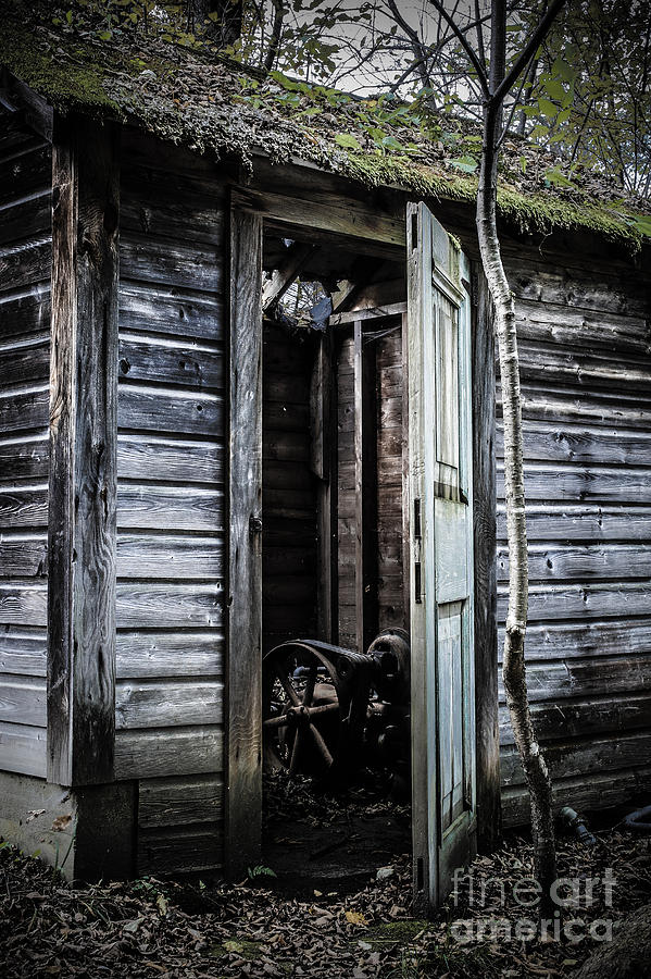 Sinister Photograph - Old Abandoned Well House With Door Ajar by Edward Fielding