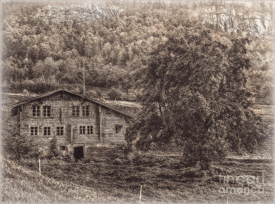 Switzerland Photograph - Old And Abandoned - Sepia by Hanny Heim