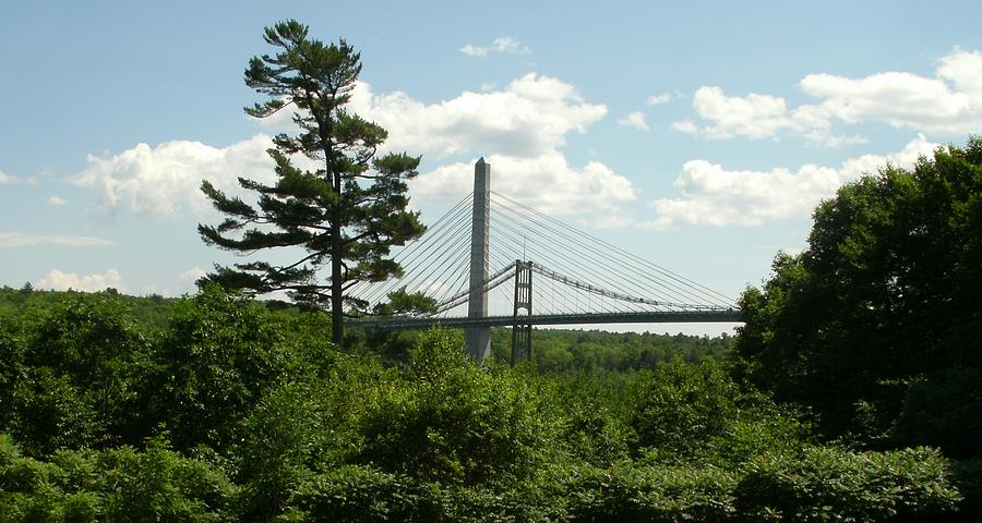 Penobscot River Photograph - Old And New Bridges Over Penobscot by David Fiske