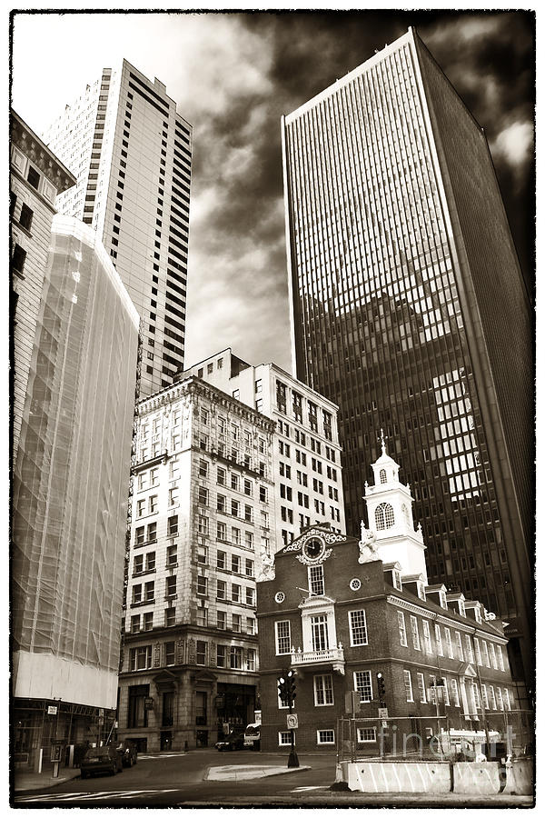 Old State House Photograph - Old And New In Boston by John Rizzuto