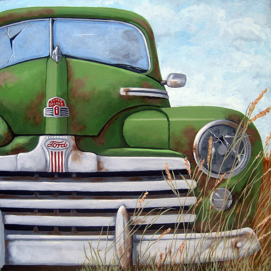 Old And Rusty Vintage Ford Realism Auto Scene Painting By