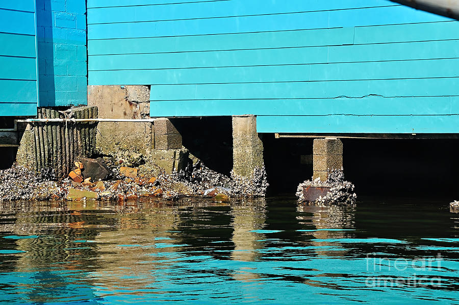 Boat Shed Photograph - Old Aqua Boat Shed With Aqua Reflections by Kaye Menner