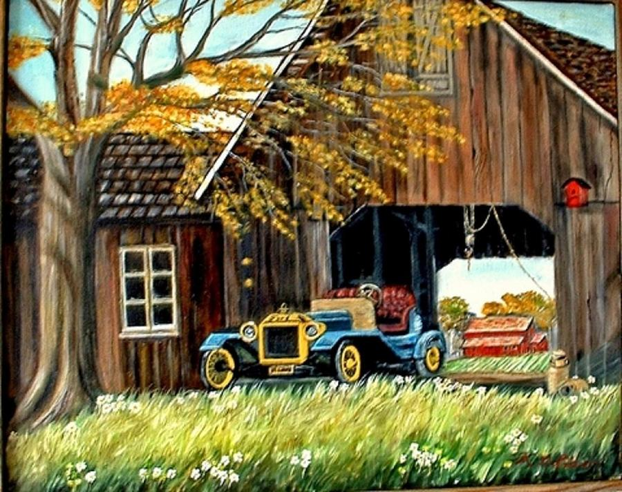 Old Barn Car Painting - Old Barn And Old Car by Kenneth LePoidevin