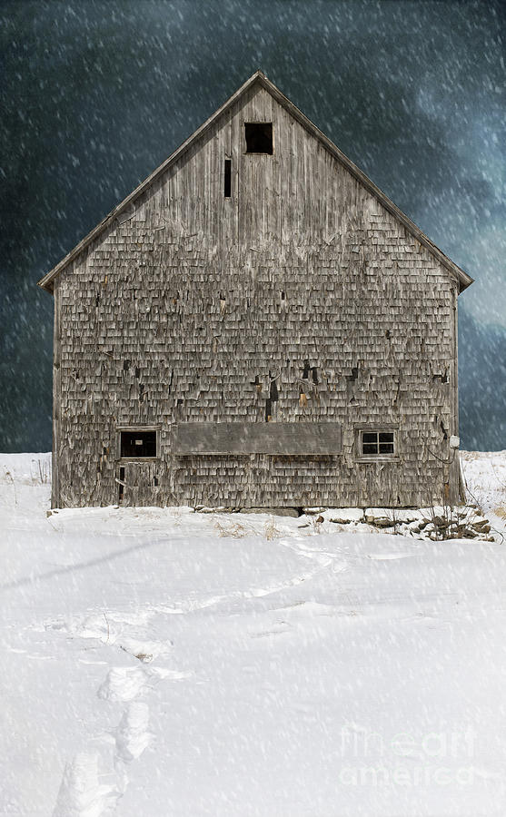Old Barn Photograph - Old Barn In A Snow Storm by Edward Fielding