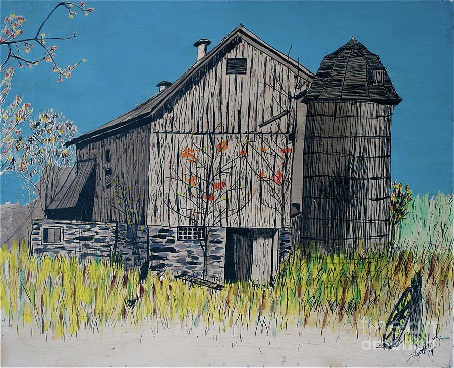 Barn Mixed Media - Old Barn by Linda Simon