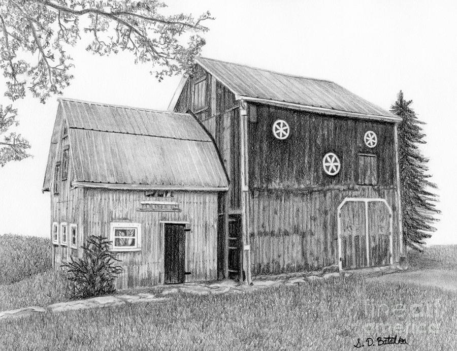 Old barn drawing by sarah batalka for Old black and white photos for sale