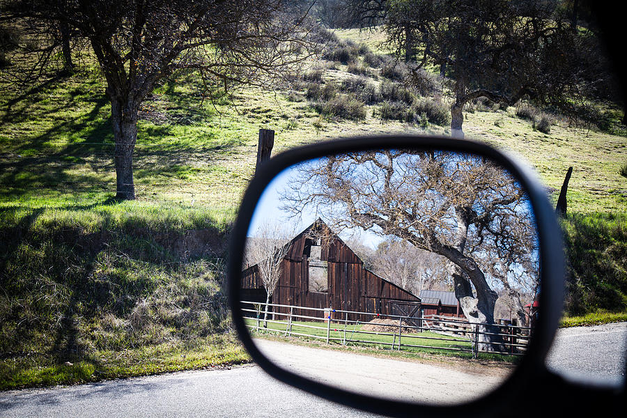 old barn scene thru rear view mirror by Dina Calvarese