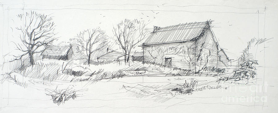 Sketch Drawing - Old Barn Sketch by Peut Etre