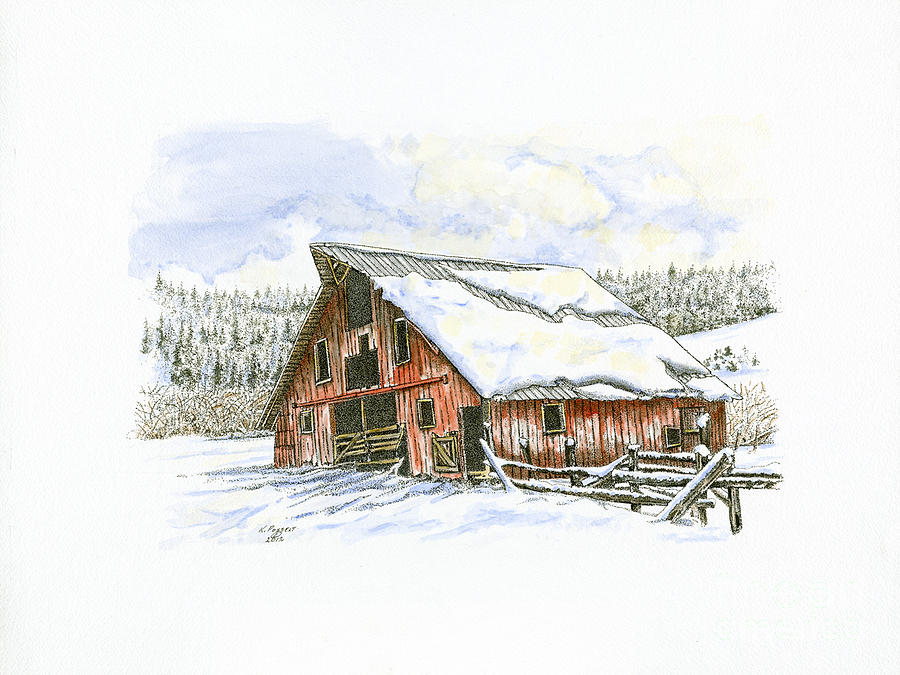 Old Drawing - Old Barn Up Ericksons Road by Kenneth or Susan Posselt