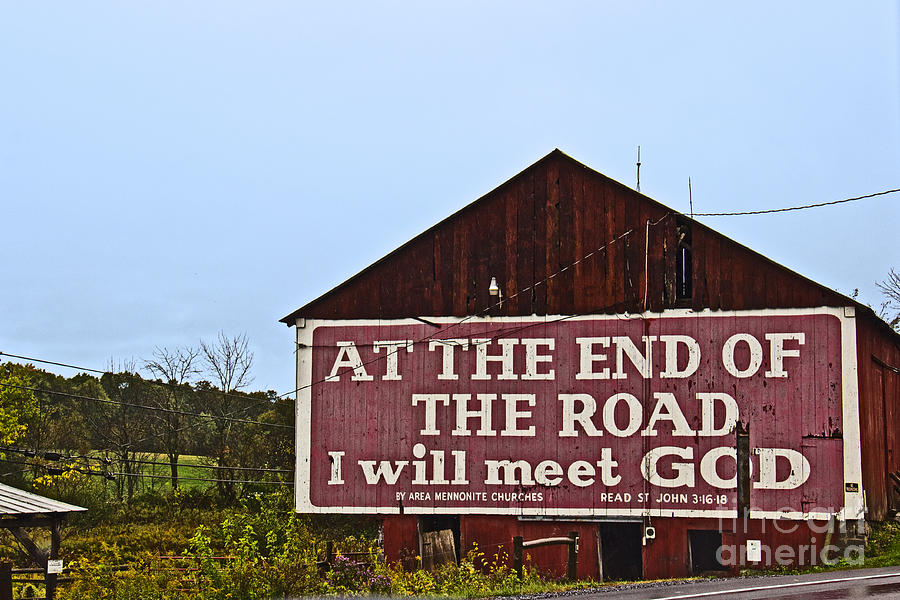 Old Photograph - Old Barn With Religious Sign by Tom Gari Gallery-Three-Photography