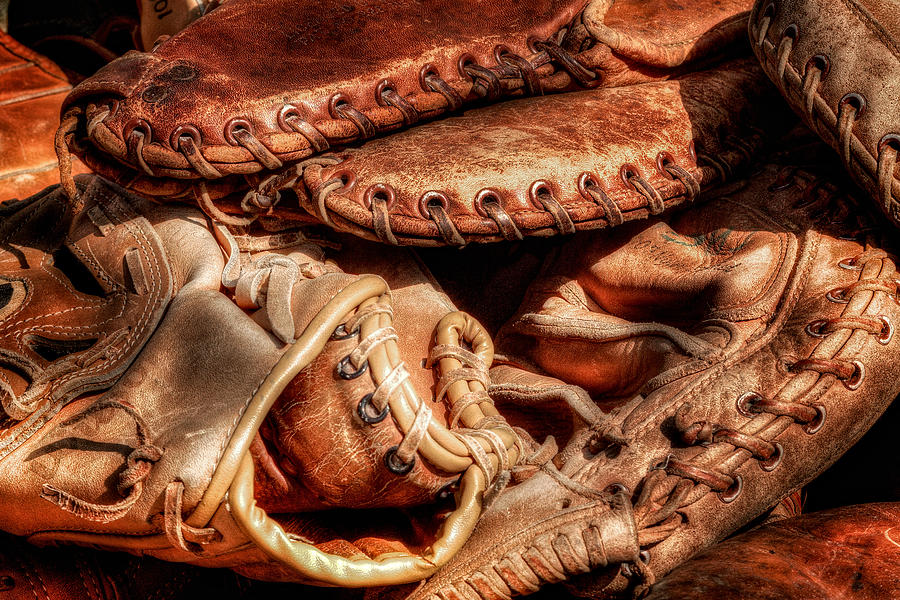 Baseball Photograph - Old Baseball Gloves by Bill Wakeley