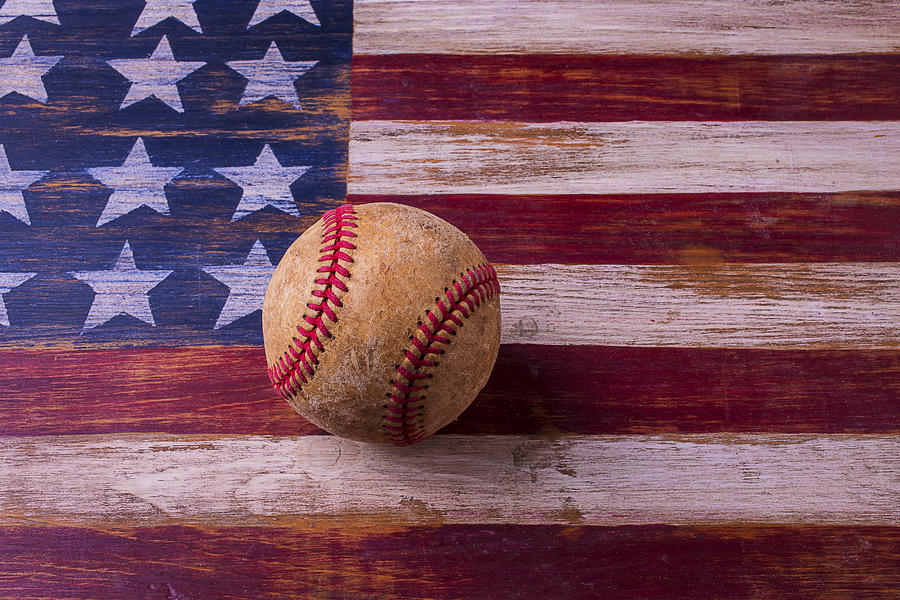 American Photograph - Old Baseball On American Flag by Garry Gay