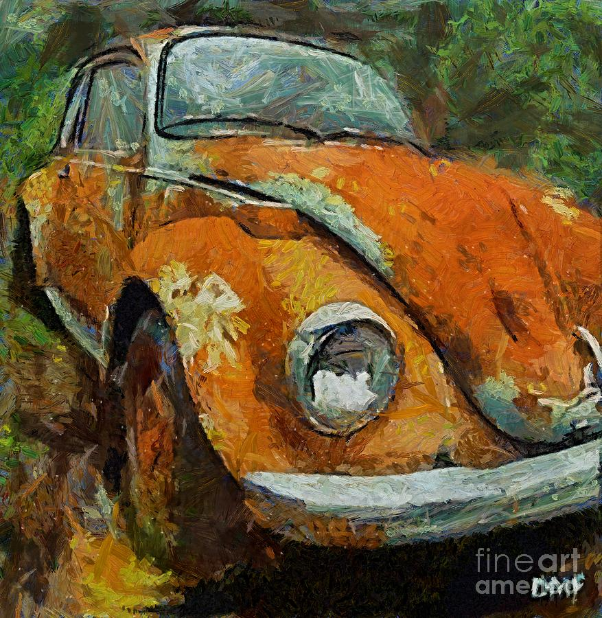 Old Beetle Painting By Dragica Micki Fortuna