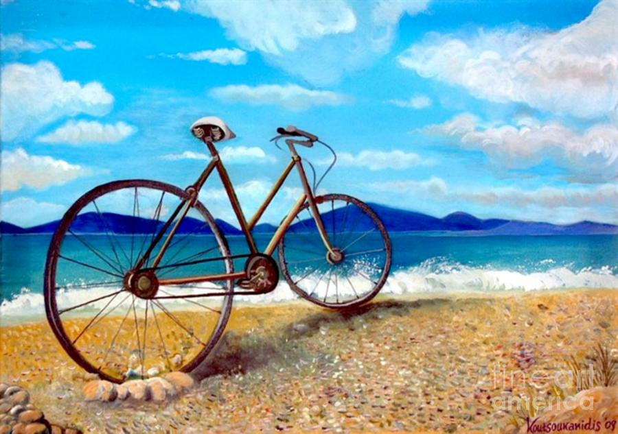 Bike Painting - Old Bike At The Beach by Kostas Koutsoukanidis
