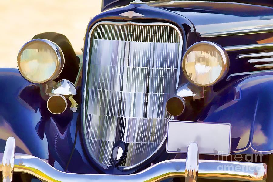 Old Photograph - Old Blue Car by Les Palenik